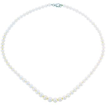 TOC Spherical Bleached White Graduated Freshwater Cultured Pearl Necklace 18