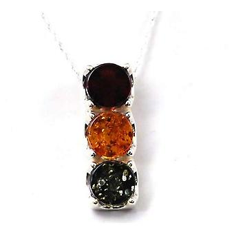 Toc Sterling Silver Traffic Light Amber Pendant on 18 Inch Chain