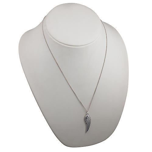 Silver 39x12mm Angel's Wing Pendant with a curb Chain 22 inches