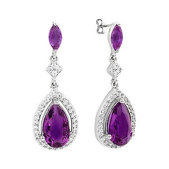 Bertha Juliet Collection Women's 18k WG Plated Purple Teardrop Fashion Earrings