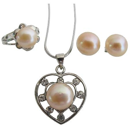 Freshwater Peach Pearl Heart Pendant Necklace Stud Earrings & Ring