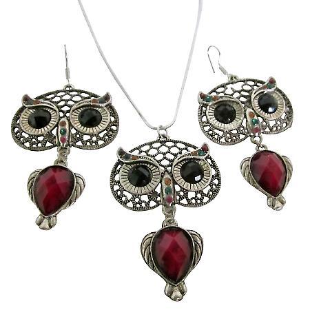 Owl Jewelry Nocturnal Bird Glowing Eyes Pendant Earrings Sign Of Wisdom Jewelry