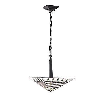 Misión medio Tiffany estilo invertido dos luz de techo colgante - interiores 1900 70380
