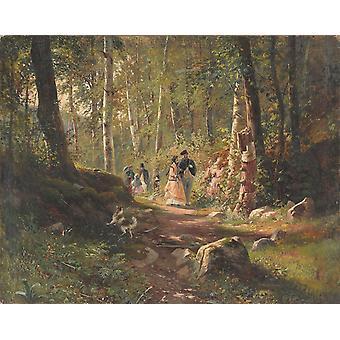 A Stroll in the Forest,Ivan Shishkin,50x40cm