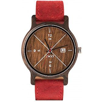 Watch D.W.Y.T DW-00203-1006 - Leman dater wood leather red man