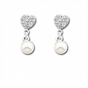 The Olivia Collection Sterling Silver Crystal Heart and Pearl Drop Earrings