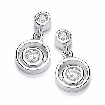 Cavendish French Silver and Cubic Zirconia Double Loop Earrings