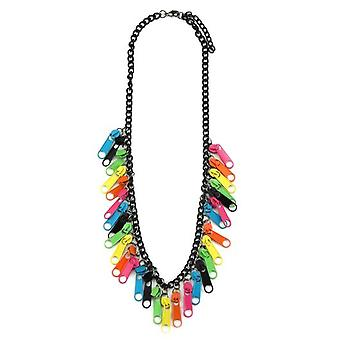 Multi-Coloured Iron Retro Zipper Tab Necklace