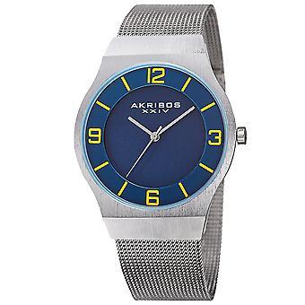 Akribos XXIV hommes AK851 Classic Dial Mesh bracelet en acier inoxydable montre AK851BU