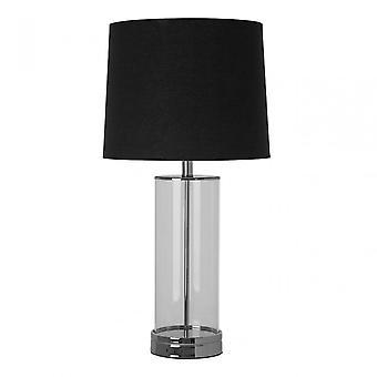 Premier Home Ludo Table Lamp (Eu Plug), Fabric, Glass, Black