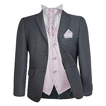 UK Boys Formal 5 PC Grey & Choice of Waistcoat