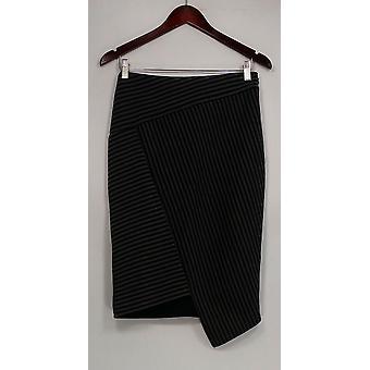 G.I.L.I. got it love it Skirt Symmetric Stripe Faux Wrap Scuba Gray A268407