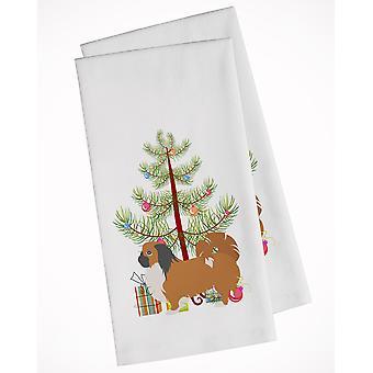 Pekingese Merry Christmas Tree White Kitchen Towel Set of 2