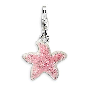 925 Sterling Silver Rhodium-plated Fancy Lobster Closure Enameled Pink Sparkle StarFish With Lobster Clasp Charm - Measu
