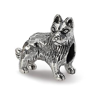 925 Sterling Argent Poli Antique finition Reflections German Shepherd Bead Charm