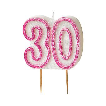 SALE - Pink Glitz Milestone Ages Birthday Candle Pick -  Age 30