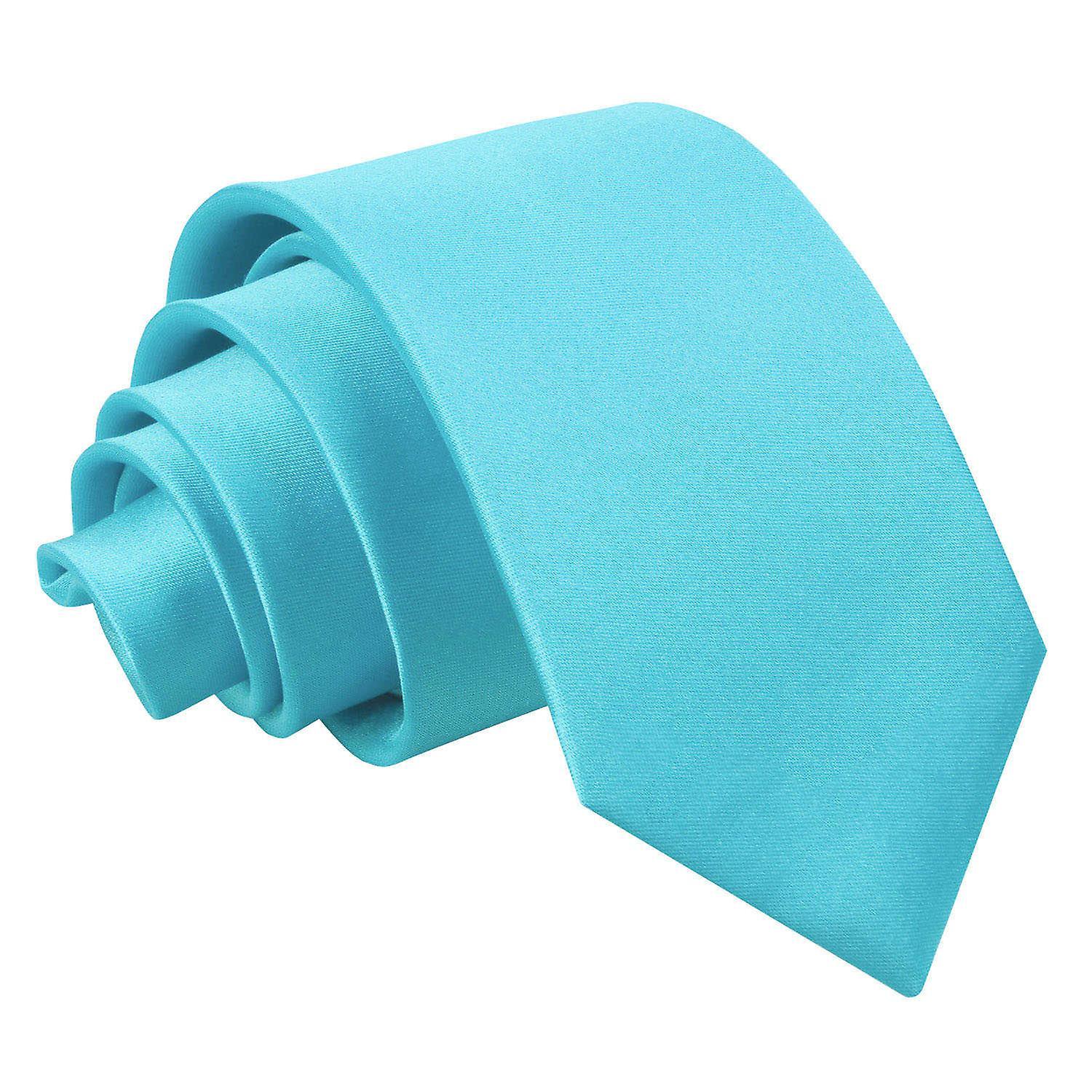 Plain Robin's Egg Blue Satin Slim Tie