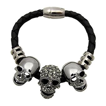 Butler & Wilson Three Skulls on Leather Cord Magnetic Bracelet Pewter