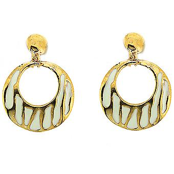 Clip On Earrings Store Gold & White Zebra Enamelled Round Drop Hoop Clip On Earrings