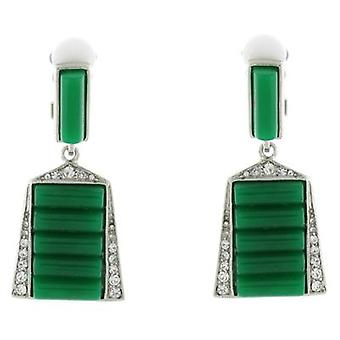 Kenneth Jay Lane Crystal & Green Deco Clip On Earrings