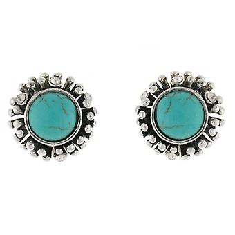 Clip On Earrings Store Silver  and  Turquoise Stone Round Button Clip on Earring