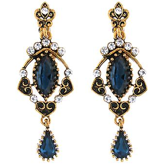 Clip On Earrings Store Antique Gold and Montana Blue Crystal Vintage Chandelier