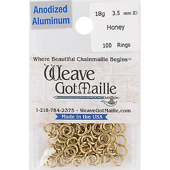 Anodized Aluminum Jumprings 3.5mm 100/Pkg-Gold HPA18A35-HONEY