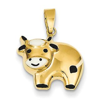 14k Yellow Gold Hollow Polished Enameled Cow Charm - .8 Grams - Measures 17x15mm