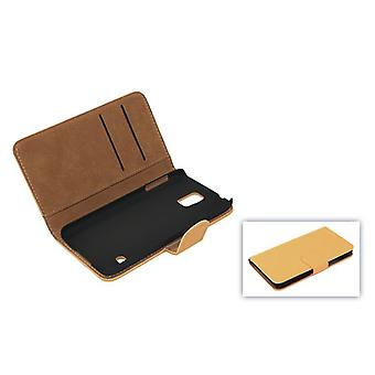 Cover cell phone case (flip cross) for mobile Samsung Galaxy S5 / S5 neo light brown
