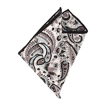 Paisley accents handkerchief Hanky Pochette Cavalier cloth black white