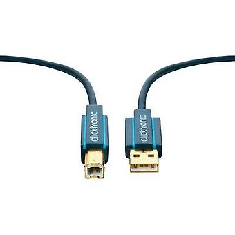 USB 2.0 Cable [1x USB 2.0 connector A - 1x USB 2.0 connector B] 1.8 m Blue gold plated connectors clicktronic