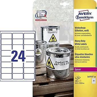 Avery-Zweckform L4773-20 Labels (A4) 63.5 x 33.9 mm Polyester film White 480 pc(s) Permanent All-purpose labels, Weather