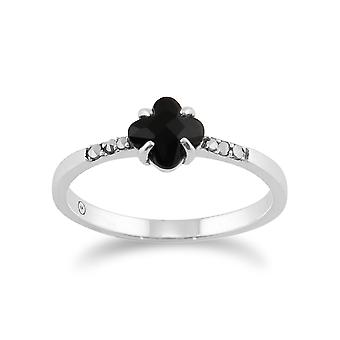 925 Sterling Silver Art Deco Onyx and Marcasite Ring