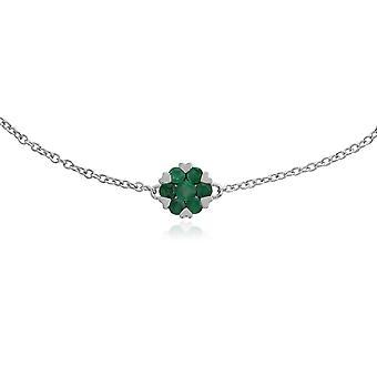 Gemondo 9ct White Gold 0.38ct Emerald & Floral Cluster 19cm Bracelet
