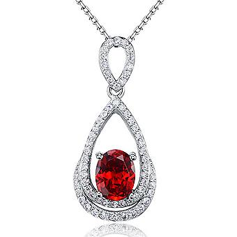 925 Sterling Silver 2 Carats Created Ruby Pendant