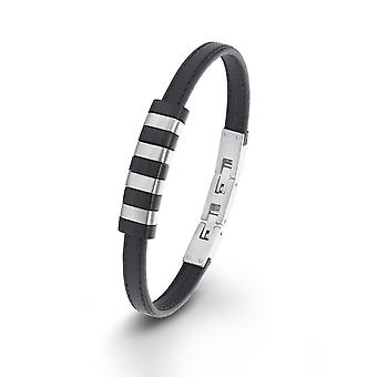 s.Oliver jewel children and adolescents bracelet stainless steel leather black 2012452