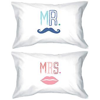 Mr and Mrs 300-Thread-Count Standard Size 21 x 30 Matching Couple Pillowcases