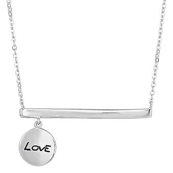 Sterling Silver Sideways Bar Dangling Love Charm Necklace, 18