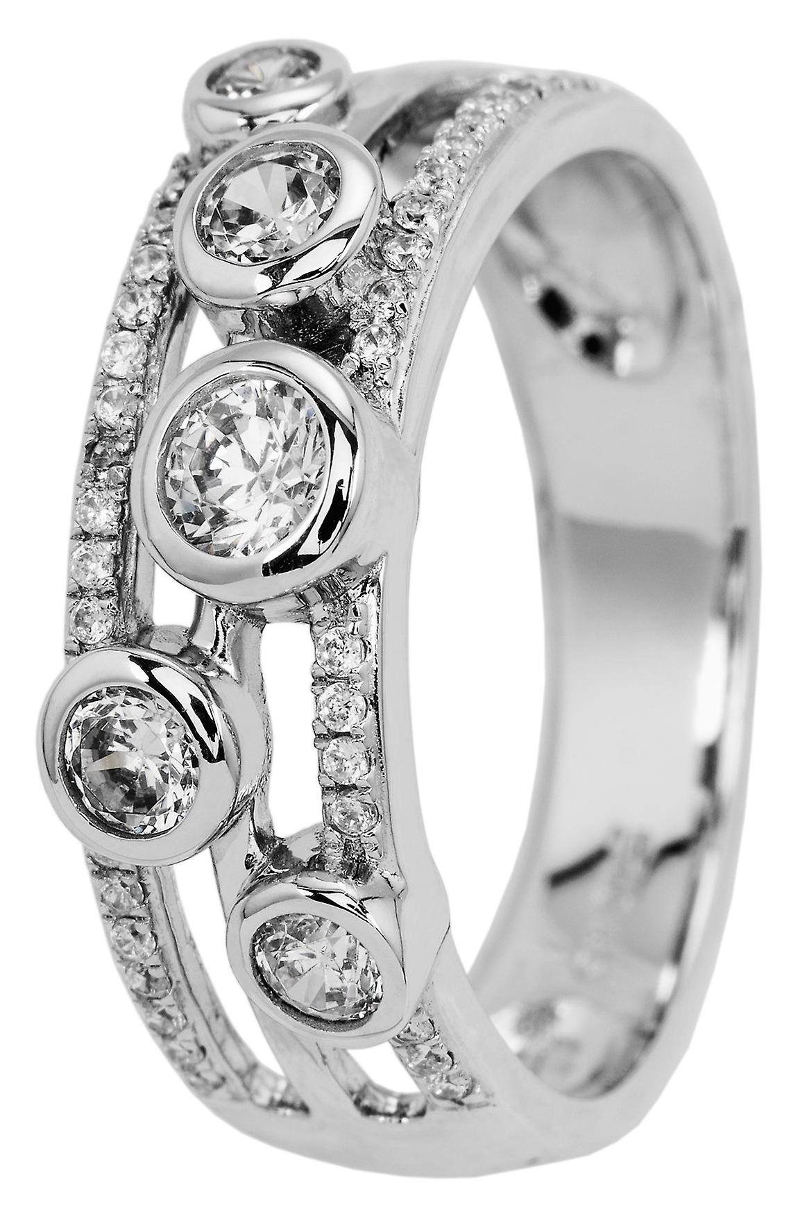 Carlo Monti women's ring JCM2007-111, 925 sterling silver rhodanized, white zirconia