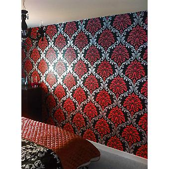 Designer Damask Wallpaper Red Silver Black Feature Wall Bedroom Living Room