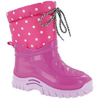 Mirak Flurry Girls Warmlined Boots Textile Weather Wellingtons Nylon Tassle