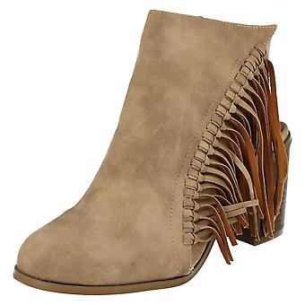 Ladies Spot On Cut Out Heel Ankle Boots