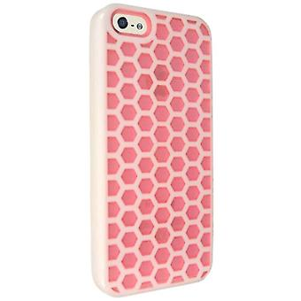 Technocel Honeycomb Hybrigel til Apple iPhone 5 - Pink/hvid