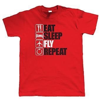 Ешьте сна летать повтор, Mens смешные, самолет T рубашка