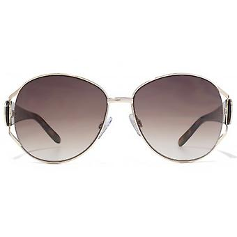 Karen Millen Large Glamour Metal Sunglasses In Light Gold Tortoiseshell