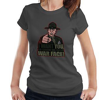 Krigens ansigt Gunnery Sgt. Hartman fuld Metal jakke kvinder T-Shirt