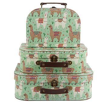 Sass & Belle Set Of 3 Lima Llama Suitcases