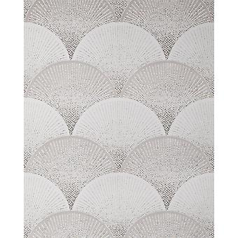 Retro white wallpaper EDEM 1030-10 vinyl wallpaper marked with graphic pattern sparkling grey 5.33 m2