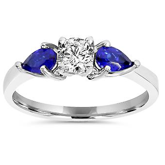 1ct 3 Stone Pear Shape Blue Sapphire & Diamond Engagement Ring 14K White Gold