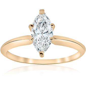 14k Yellow Gold 1ct Marquise Diamond Engagement Solitaire Ring